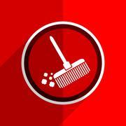 red flat design broom web modern icon - stock illustration