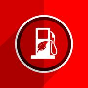 Red flat design biofuel web modern icon Stock Illustration