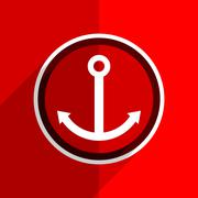 red flat design anchor web modern icon - stock illustration