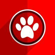 red flat design foot web modern icon - stock illustration