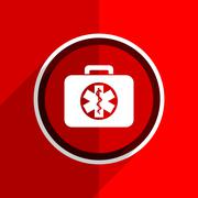red flat design rescue kit web modern icon - stock illustration