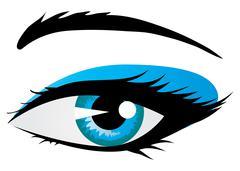 Shining woman eye - stock illustration
