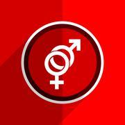 red flat design sex web modern icon - stock illustration