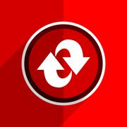 Red flat design rotation web modern icon Stock Illustration