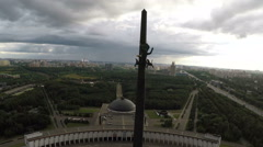 Victory Monument on Poklonnaya Hill, Moscow. Aerial view Stock Footage