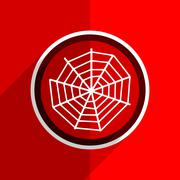 red flat design spider modern web web modern icon - stock illustration