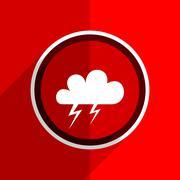 red flat design storm web modern icon - stock illustration