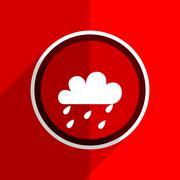 red flat design rain web modern icon - stock illustration