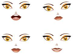 Toon female face with yellow eyes - stock illustration