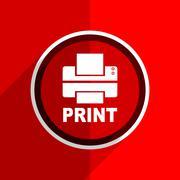 Red flat design printer web modern icon Stock Illustration