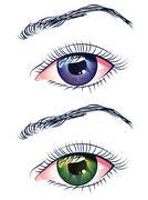 Violet and Green Eyes - stock illustration