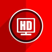 red flat design hd display web modern icon - stock illustration
