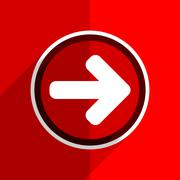 red flat design right arrow web modern icon - stock illustration