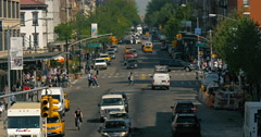 New York City Junction, yellow taxis, pedestrians and traffic Stock Footage
