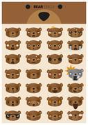 Bear emoji icons Stock Illustration
