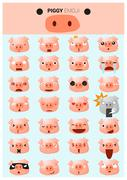 Piggy emoji icons - stock illustration