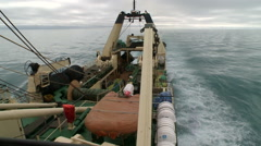 Fishing trawler. View from the main deck Stock Footage
