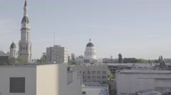 Sacramento State Capitol Building Seen From Rooftop Pan Down Stock Footage