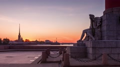 4k Timelapse Sunrise on the Spit of Vasilyevsky Island, Saint-Petersburg, Russia Stock Footage