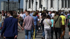 RUSSIA, MOSCOW - MAY 9, 2016: A crowd of people in the Victory Day Stock Footage