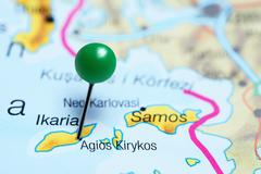 Agios Kirykos pinned on a map of Greece - stock photo