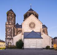 Side view of the catholic Herz-Jesu church in Aachen Burtscheid, Germany with - stock photo