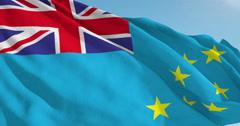 Beautiful looping flag blowing in wind: Tuvalu Stock Footage