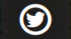 4k - Twitter logo VHS effect with distortion Arkistovideo