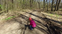 The child did not like the road. She decided to align the road. Stock Footage