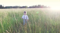 Small child in the field with the tall grass around. Stock Footage