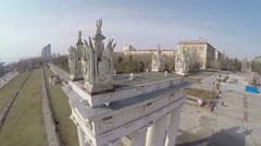 Central riverwalk with old columns in Volgograd, Russia Stock Footage