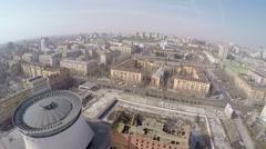 Aerial view of Volgograd city, Russia Stock Footage