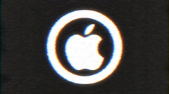 4k - Apple logo with VHS effect with distortion Stock Footage