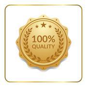 Seal award gold icon medal - stock illustration