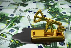 Pumpjack And Spilled Oil Over Euros - stock illustration