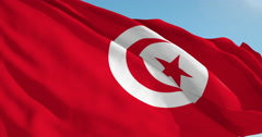 Beautiful looping flag blowing in wind: Tunisia - stock footage