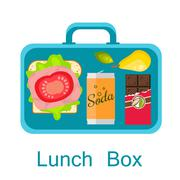 Lunch box vector. Snack pack for student Stock Illustration