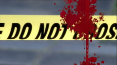 Blood splatter and crime scene tape Stock Footage