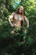 Wild man in the woods. Stock Photos
