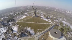 Aerial view of Mamaev Kurgan memorial in Volgograd. Russia Stock Footage