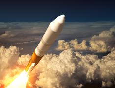 Cargo Launch Rocket In The Clouds Stock Illustration