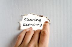Sharing economy text concept - stock photo