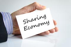 Sharing economy text concept Stock Photos