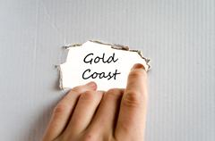 Gold coast text concept Stock Photos