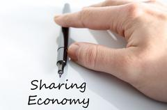 Sharing economy text concept Stock Photos