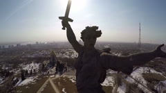 Mamaev Kurgan in Volgograd, Russia. Aerial view Stock Footage