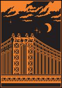 bridge at night - stock illustration