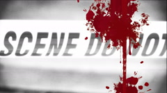 Griity crime scene tape with blood splatter Stock Footage