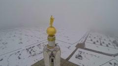Belfry in Prokhorovka, Kursk Salient. Aerial view - stock footage