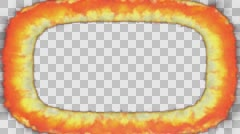Animated thick oval frame of raging fire against transparent background in 4k Stock Footage